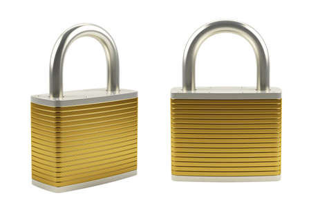 3d illustration of gold padlock isolated on white Stock Illustration - 9849600