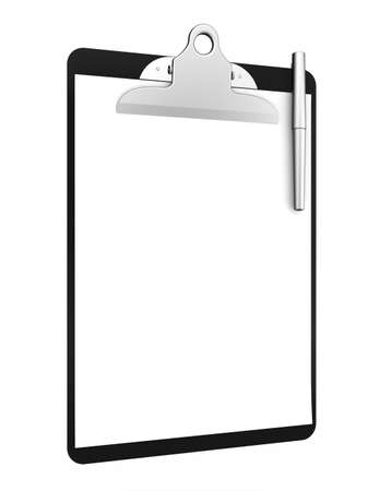 polls: 3d renderof clipboard with blank paper and pen on a white background  Stock Photo
