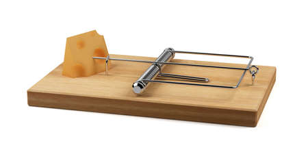 endangerment: 3d render of mousetrap with cheese isolated on white background