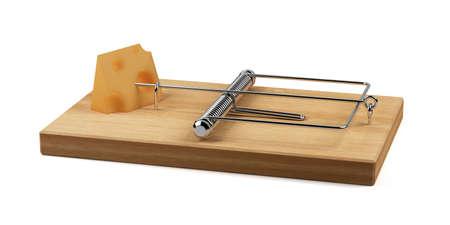 piege souris: rendu 3D de pi�ge avec fromage isol�e sur fond blanc