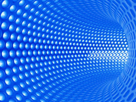 3d illustration of abstract blue tunnel Stock Illustration - 9849602