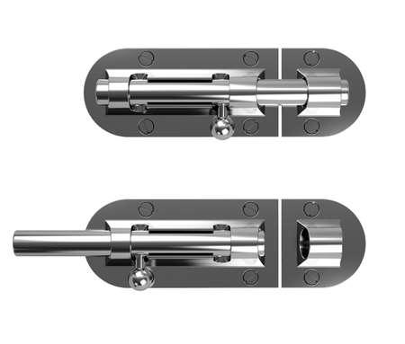 3d illustration of chrome latch isolated on white background Stock Illustration - 9849596