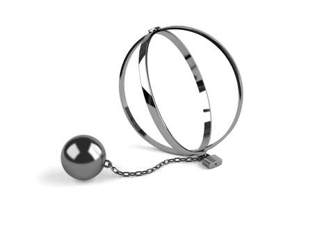 3d render of trap with chains on white background Stock Photo - 9849603