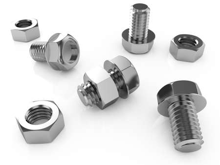 screw: 3d illustration of nuts and bolts isolated on a white background Stock Photo