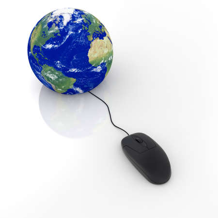 3d render of black glossy computer mouse connected to a globe Earth Stock Photo - 9983519