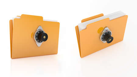 3d render of computer folder with combination lock on white background  photo