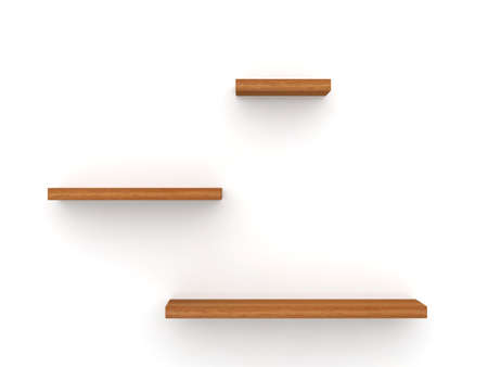 3d illustration of three empty wood shelves on white wall