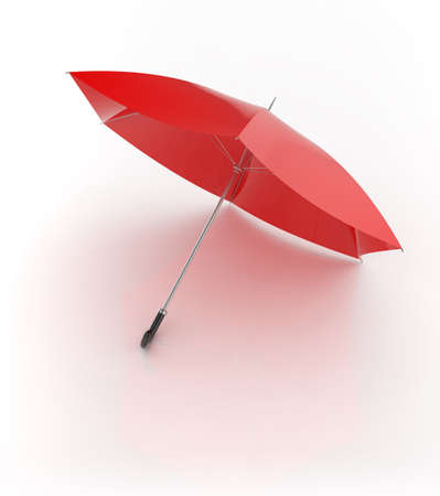 3d render of red umbrella isolated on white background 版權商用圖片
