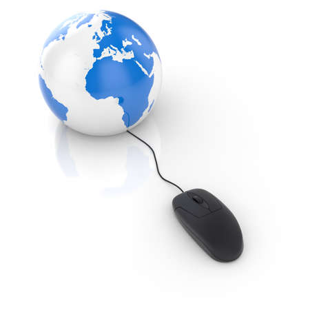 3d render of black glossy computer mouse connected to a globe Earth  Stock Photo - 10071384