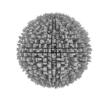 3d shape: 3d illustration of planet covered by building isolated on white background