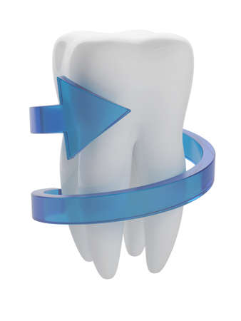 toothpaste: 3d illustration of white tooth with blue arrow isolated on white background