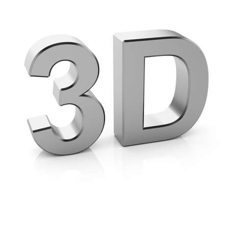 3d render of chrome 3D text with reflection on white background photo