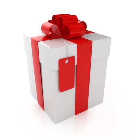 closed ribbon: 3d render of closed gift box over white background Stock Photo