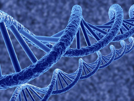 dna structure: 3d render of dna on blue background