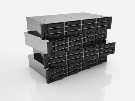 data storage: 3d render of rack server data storage