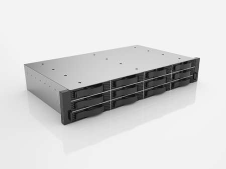 3d render of rack server data storage