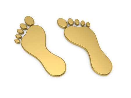 foot prints: 3d render of golden steps icon isolated on white background Stock Photo
