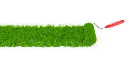 rollerbrush: 3d render of grass roller with grass field isolated on white background Stock Photo