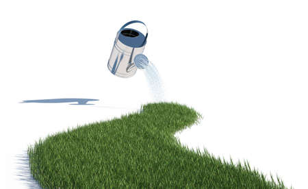 3d illustration of grass and watering can on white background illustration