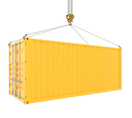 container freight: 3d render of cargo container with hook isolated on white