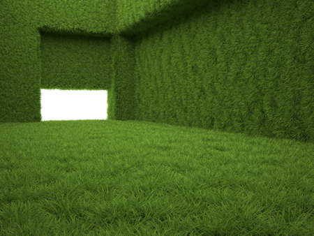 interior window: 3d render of green grass room Stock Photo