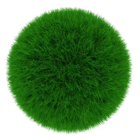 3d render of green grass sphere isolated on white background photo