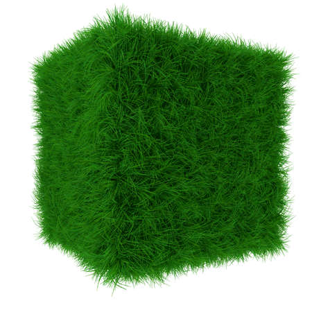 3d render of green grass cube isolated on white background photo