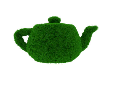 3d render of green grass teapot isolated on white background photo