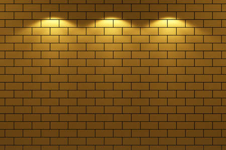3d render of bricks wall with three lights photo