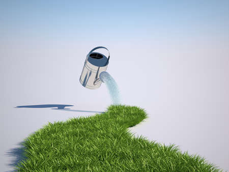 soil conservation: 3d illustration of grass and watering can
