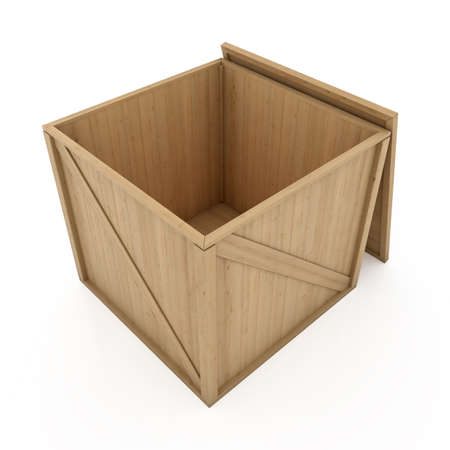 3d opened wooden box container isolated on white background
