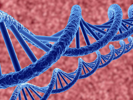 researchs: 3d render of dna on blue background