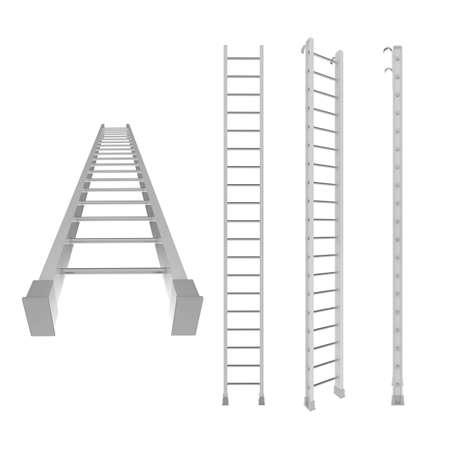 backstairs: Diverso punto di vista del bianco scala 3d