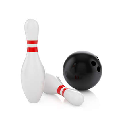 straight pin: 3d render of bowling ball and pins isolated on white Stock Photo