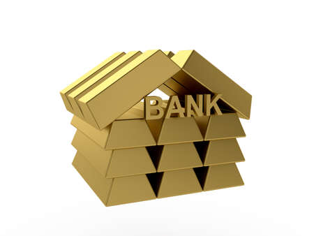 icon idea idiom illustration: 3d render of gold bank icon isolated on white background Stock Photo