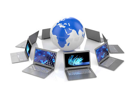 computer screen data: 3d illustration of laptops and Earth planet on white background