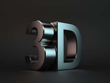 letras cromadas: 3D render de texto en 3D con la reflexión sobre fondo negro