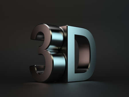 3d dimensional: 3d render of 3D text with reflection on black background Stock Photo