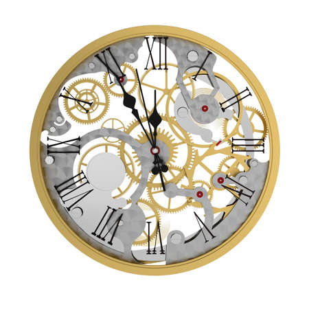 3d render of clock mechanism, five minutes to twelve  photo