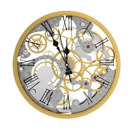 clockwork: 3d render of clock mechanism, five minutes to twelve  Stock Photo