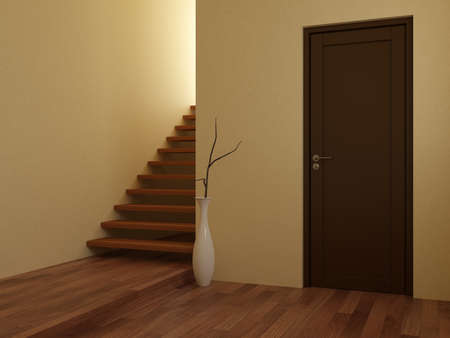 3d render of empty interior with stairs and door photo