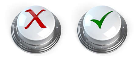 ok button: 3d render of check mark buttons
