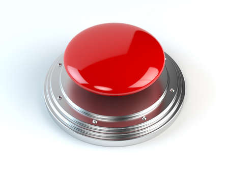 shiny button: 3d render of red alarm button Stock Photo