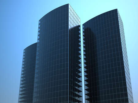 3d render of modern glass business skyscrapers photo