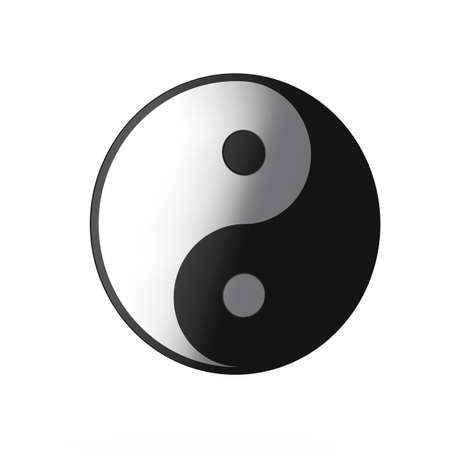 elemental: 3d render of yin yang icon isolated on white