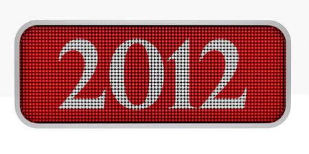 rende: 3d rende of red screen with 2012 sign Stock Photo