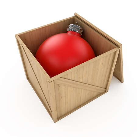 3d render of xmas ball in wood cargo box photo