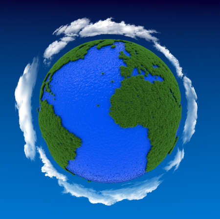 protect earth: 3d render of earth ecological concept with grass, water and clouds Stock Photo