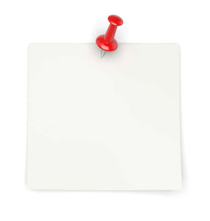 attachments: 3d render of blank paper with red pin on white