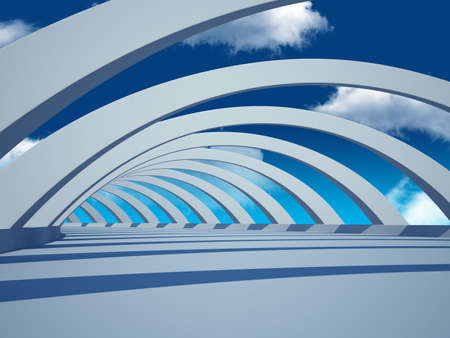 road tunnel: 3d redner of abstract tunnel with sky Stock Photo